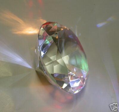 CRISTALLO a taglio DIAMANTE MAXI GIGANTE PRISMA ARCOBALENO (120mm)