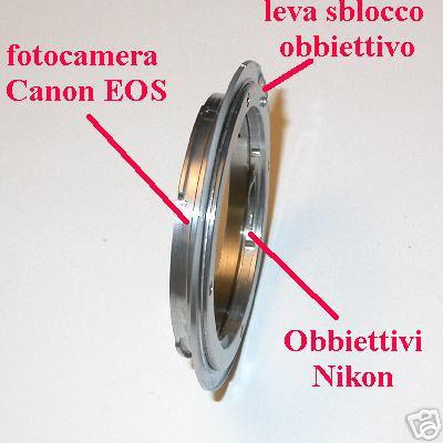 Canon EOS adattatore per ottiche Nikon  Raccordo obiettivo Adapter ring