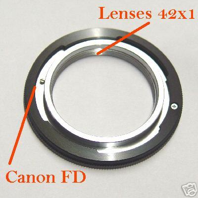 Canon FD adattatore a obiettivo vite 42x1 M42 M 42 Raccordo adapter ring FD lens