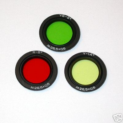 ZENITAR Ø 26,5 x 0.5 mm Set di 3 filtri per 16 mm f 2,8 ottica  Russa