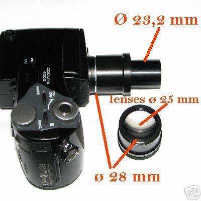 Nikon coolpix 4500 995 990 Ø 28 mm ADAPTER MICROSCOPIO