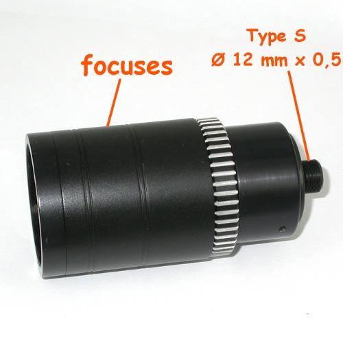 Obiettivo Super TELE IR MACRO per telecamera CCTV passo S mount f 80 mm 1:4,5