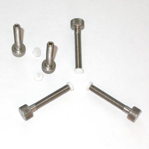 Pomello, manopola, vite M6 Ø6 mm in acciaio inox con base antigraffio ( teflon )