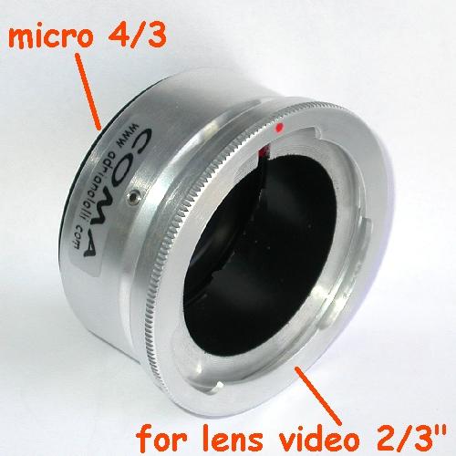 micro 4/3 Olympus Lumix Panasonic anello raccordo per obiettivo video 2/3 ``- B4
