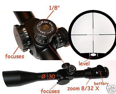 Cannocchiale per carabina fucile 8-32 ø 56 riflescope