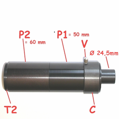 Telextender modulare ibrido per foto a proiezione oculare e fuoco diretto Ø24,5
