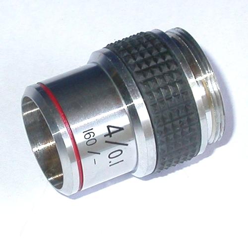 Obiettivo  per microscopio biologico attacco standard RMS 4 X / 0,1 160 / --
