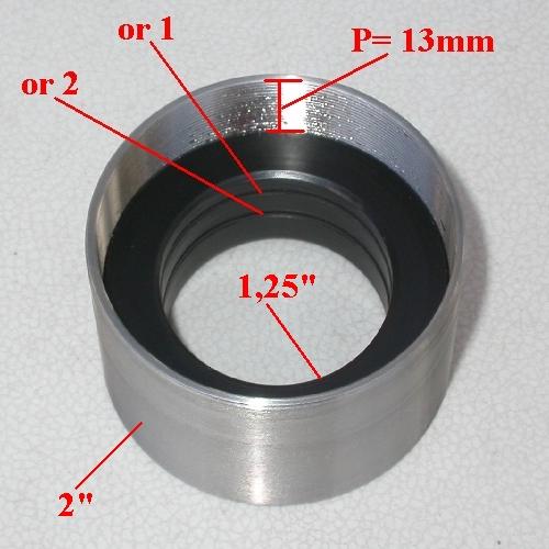 Anello Riduttore ribassato per  Telescopio da 2 ``  a oculari 1,25 ``