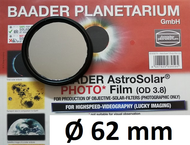 AstroSolar ™ Photofilm Filtro di assorbimento neutro Density 3.8  Ø 62mm