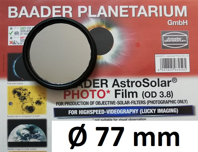 AstroSolar ™ Photofilm Filtro di assorbimento neutro Density 3.8  Ø 77mm