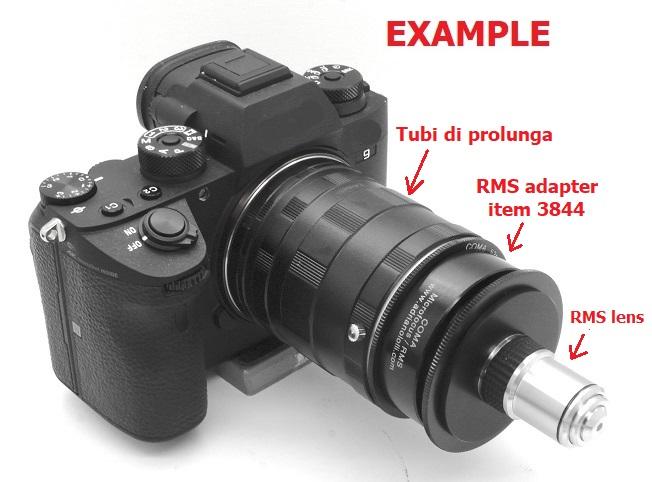 Adattatore MICROFOCUS per ottiche microscopio RMS  per canon nikon pentax ....