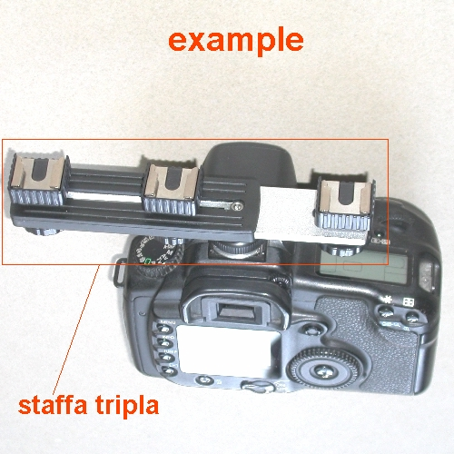 Staffa x flash Metz Sunpak Nikon ecc. o altri accessori  tripla  slitta