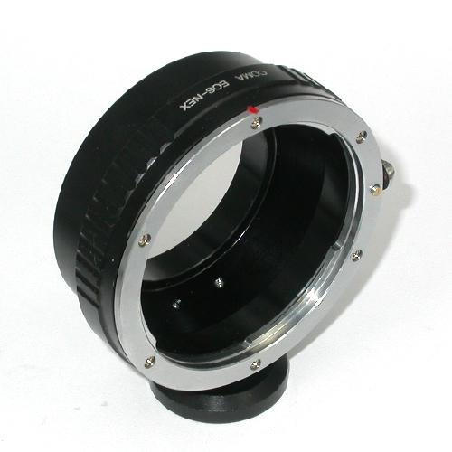 SONY NEX ( E mount ) adattatore per ottiche Canon eos EF con supporto cavalletto