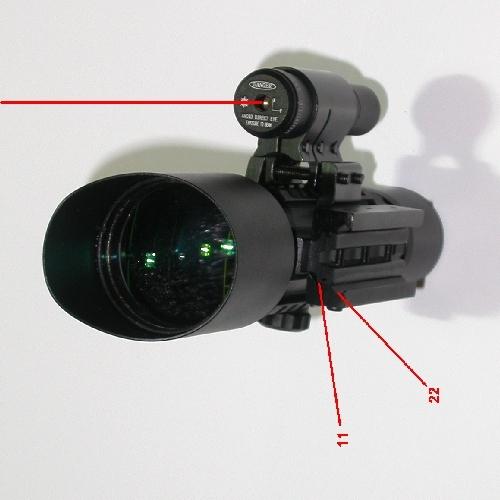 Cannocchiale riflescope zoom compatto con puntatore laser per armi 3-10X 42