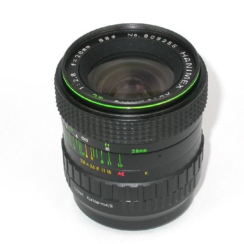Obiettivo HANIMEX 28mm 2.8 manual focus x fotocamere innesto micro 4/3 *