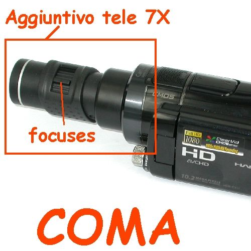 Aggiuntivo tele 7X economico per fotocamere e videocamere Ø 40,5mm