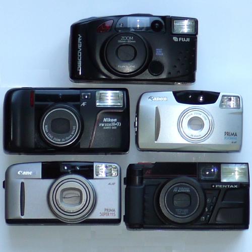 Lotto di 5 fotocamere compatte analogiche non funzionanti