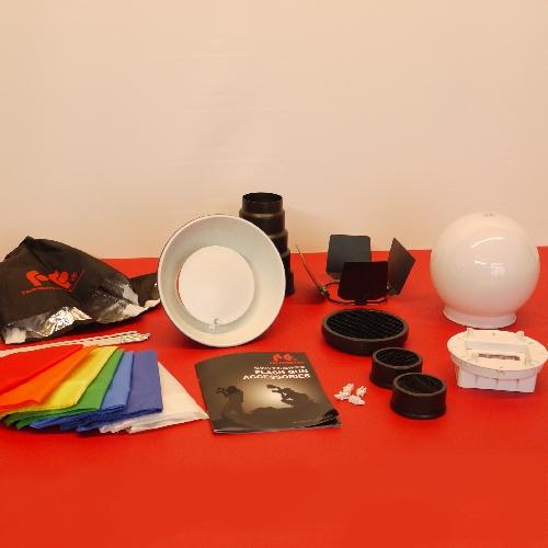 Super kit semi universale per flash, set diffusore a luce diffusa e spot