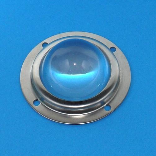 Lente condensatore parabolico in vetro  Ø 50mm H 28 con supporto e guarnizione