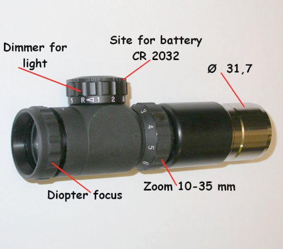 OCULARE ZOOM CON RETICOLO ILLUMINATO f 10/35mm ILLUMINATED RETICLE EYEPIECE ZOOM