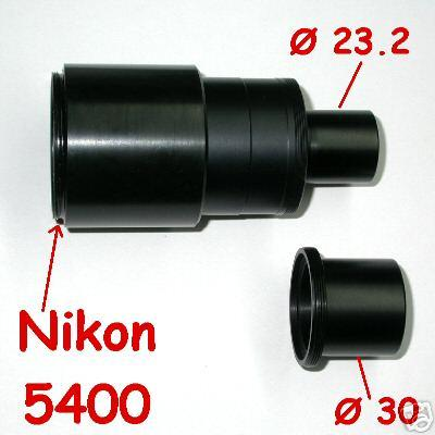Nikon coolpix 5400 ADAPTER FOTO MICROSCOPIO 23,2 or 30 microscope
