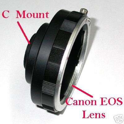 Camera CCD - CMOS graft C mount MODIFICATO per filtri for lens Canon eos