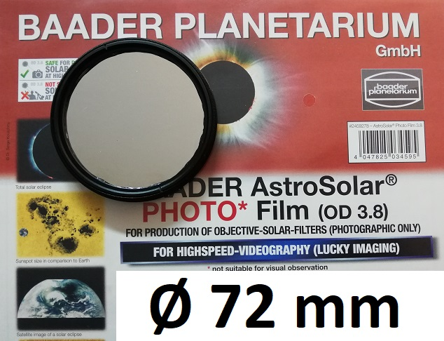 AstroSolar ™ Photofilm Filtro di assorbimento neutro Density 3.8  Ø 72mm