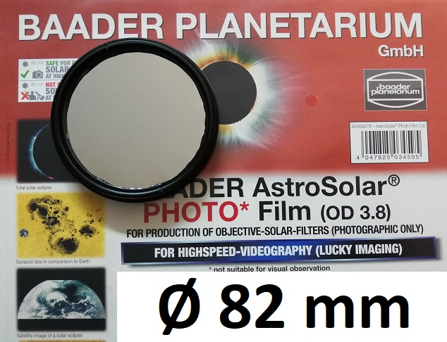 AstroSolar ™ Photofilm Filtro di assorbimento neutro Density 3.8  Ø 82mm