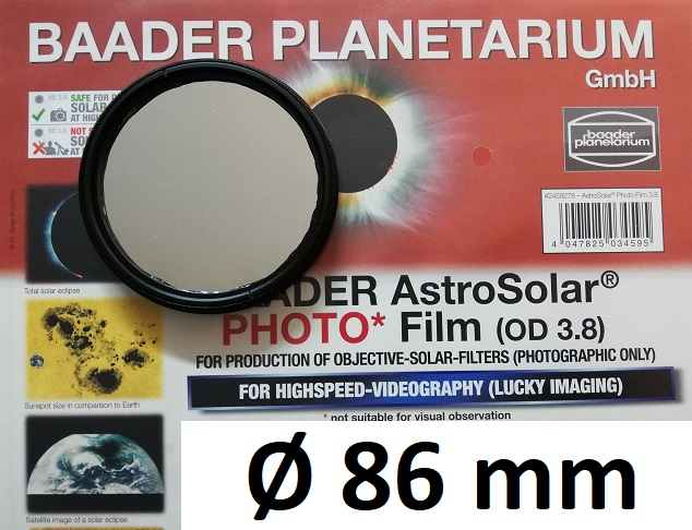 AstroSolar ™ Photofilm Filtro di assorbimento neutro Density 3.8  Ø 86mm