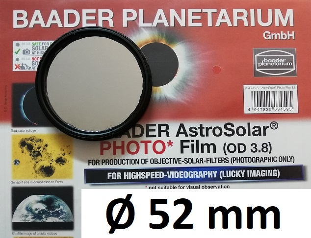 AstroSolar ™ Photofilm Filtro di assorbimento neutro Density 3.8  Ø 52mm