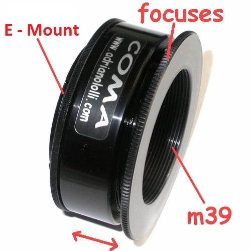 NEX E MOUNT adapter Enlarging Lens, focuses x ingranditore39x1 con messa a fuoco